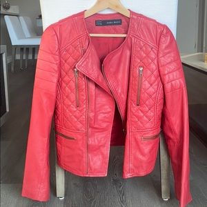 Zara Red studded faux leather jacket